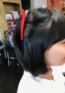 中学生の縮毛矯正 サイド~前髪