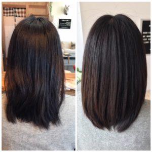 髪質改善ストレートの仕上がり例