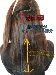 縮毛矯正をかける前にお客様へコンディションの解説