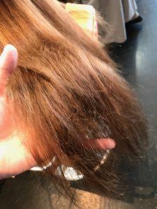 毛先はロングヘア特有のダメージが蓄積しています