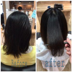 サロンドエメの縮毛矯正で髪質まで変わってしまったようなサラサラの綺麗な髪に改善しました
